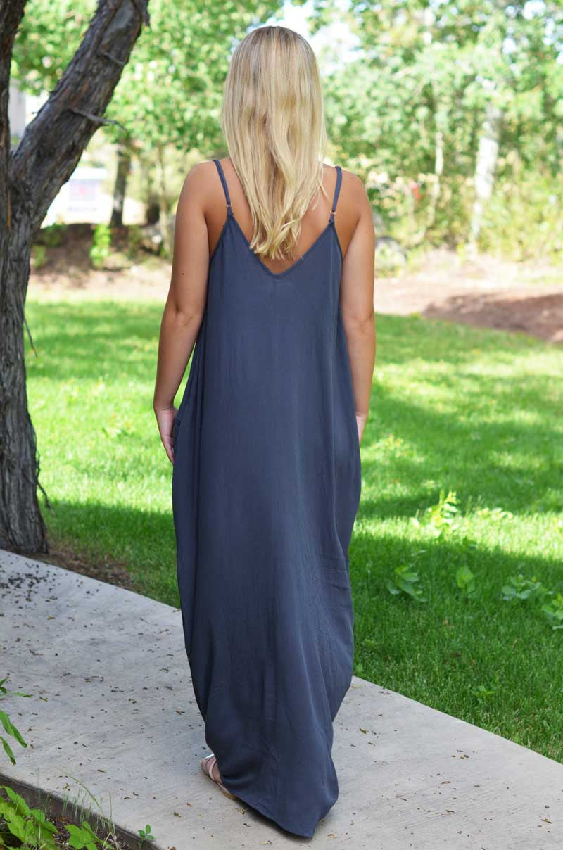 Spaghetti Strap V-neck Pleated Floor-length Long Cotton Loose Dress - Meet Yours Fashion - 5