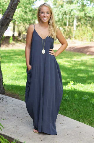 Spaghetti Strap V-neck Pleated Floor-length Long Cotton Loose Dress - Meet Yours Fashion - 1