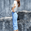 Denim Stretch Split High Waist Knee Length Dress