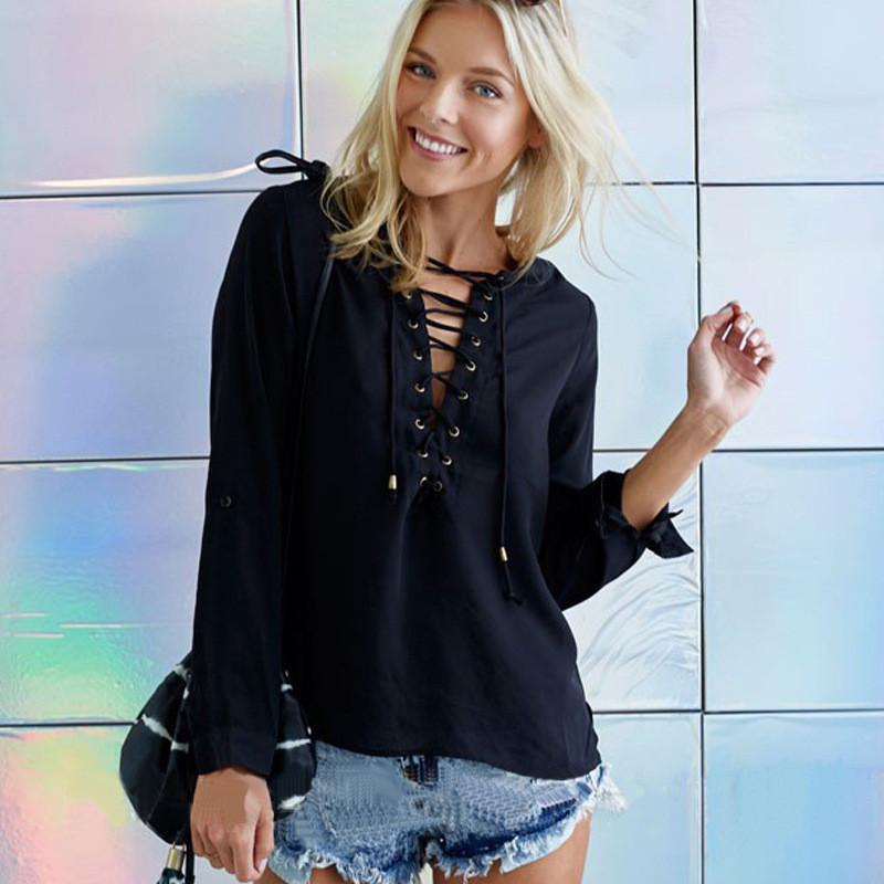 Sexy Strap Cross Deep V-neck Long Sleeves Blouse - Meet Yours Fashion - 1