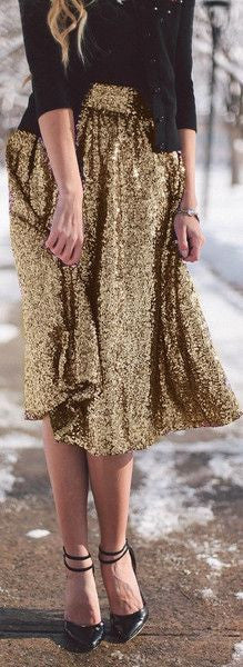 Sequin High Waist Flared Fashion Middle Skirt - Meet Yours Fashion - 4