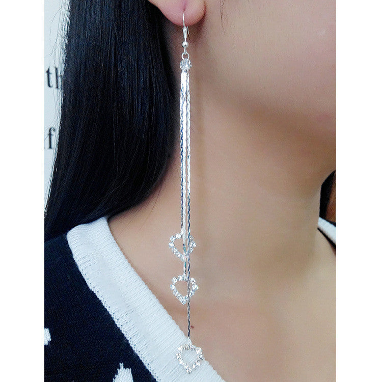 Exaggerated Crystal Tassels Party Earrings