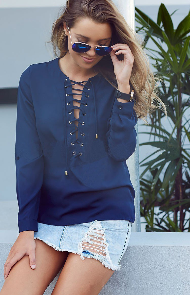 Sexy Strap Cross Deep V-neck Long Sleeves Blouse - Meet Yours Fashion - 2
