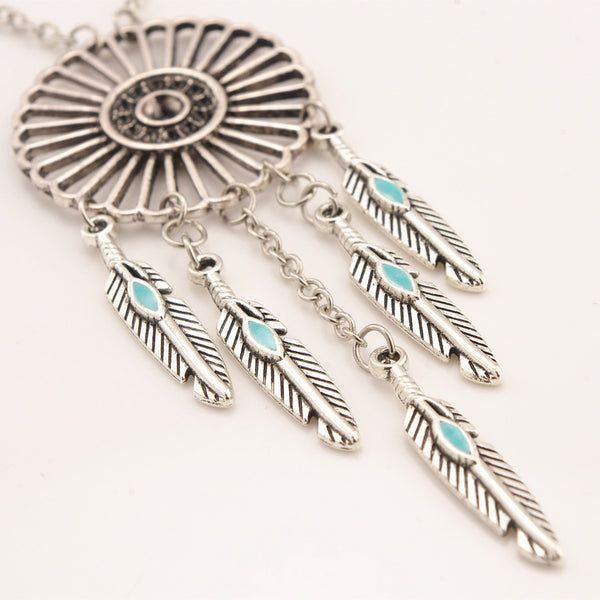 Bohemian Style Feather Tassels Dreamcatcher Necklace