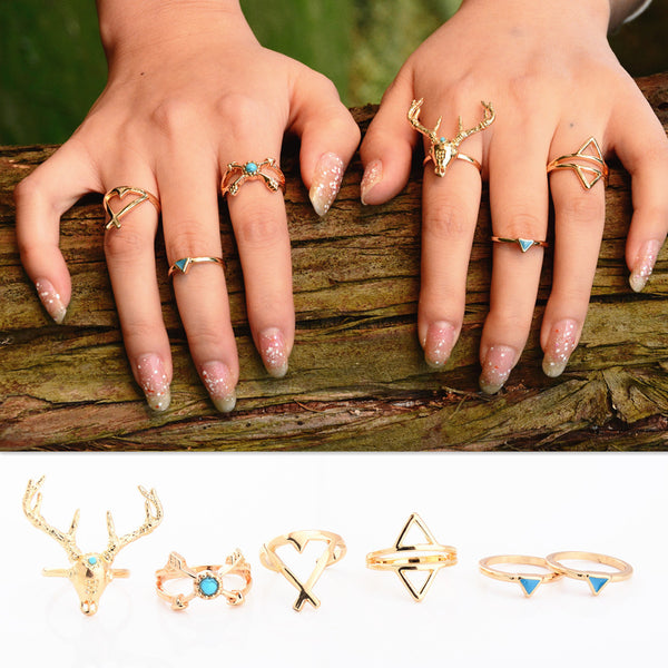Deer Head Triangular Stone Arrow Combination Suit Ring
