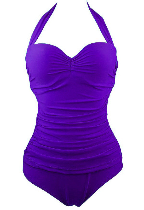 Halter Wrinkled Padded One Piece Swimwear