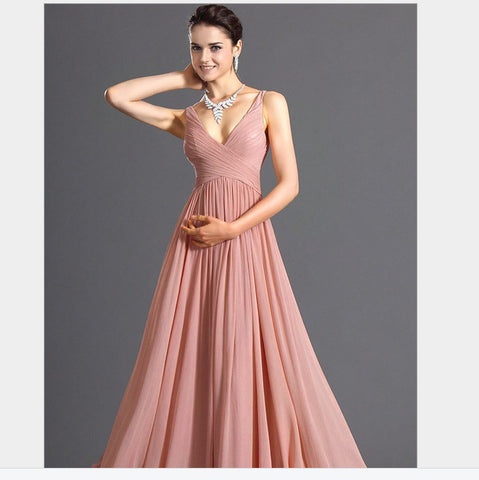 V-neck Backless Solid Spaghetti Strap Chiffon Long Bridesmaid Dress - Meet Yours Fashion - 2