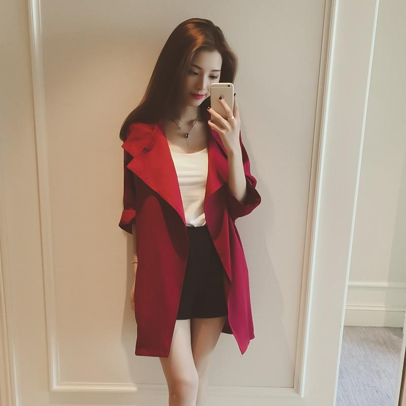 Slim 3/4 Sleeves Turn-down Collar Long Loose Coat - Meet Yours Fashion - 4