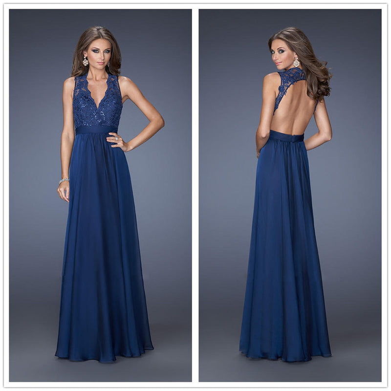 Lace Pure Color Sleeveless Backless V-neck Long Dress