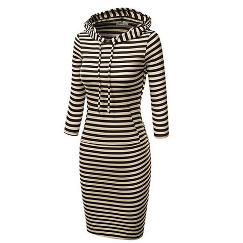 Hooded Mid-Calf Striped Slim Fashion Sweat Dress - Meet Yours Fashion - 1
