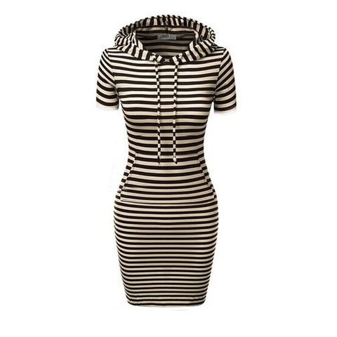Hooded Mid-Calf Striped Slim Fashion Sweat Dress - Meet Yours Fashion - 4