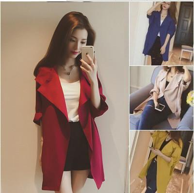 Slim 3/4 Sleeves Turn-down Collar Long Loose Coat - Meet Yours Fashion - 2
