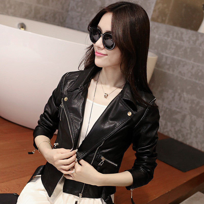 Stand Collar Rivet Oblique Zipper Slim Crop Jacket - Meet Yours Fashion - 4