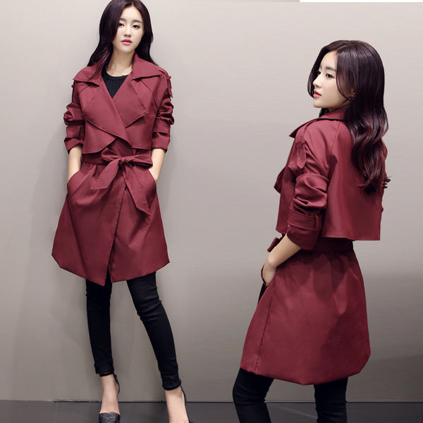Solid Lapel Pockets Slim Long Coat - Meet Yours Fashion - 2
