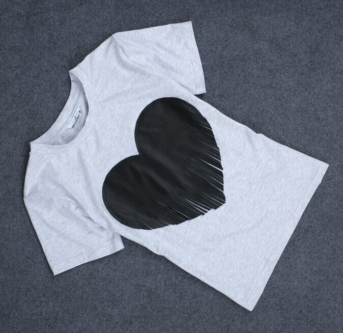 Heart shaped Scoop Short Sleeve Slim T-shirt - Meet Yours Fashion - 4