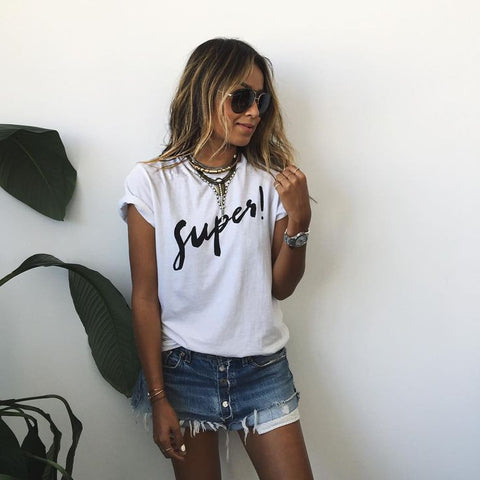 Letter Short Sleeves Scoop Casual Brief T-shirt - Meet Yours Fashion - 2