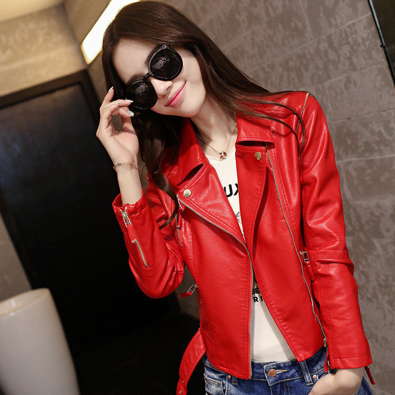 Stand Collar Rivet Oblique Zipper Slim Crop Jacket - Meet Yours Fashion - 2