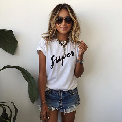 Letter Short Sleeves Scoop Casual Brief T-shirt - Meet Yours Fashion - 1