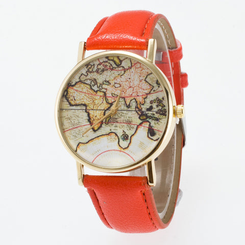 Vintage Map Dial Leather Fashion Watch