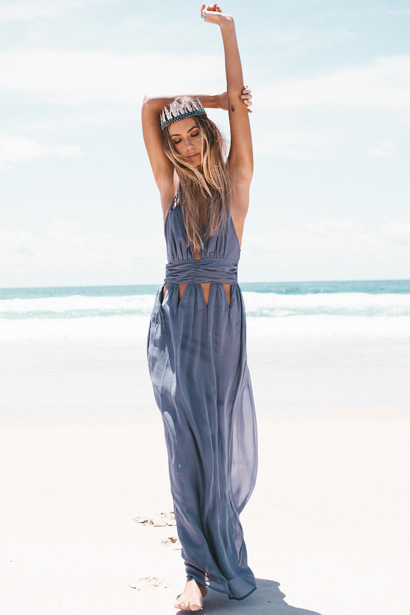 Hollow Out Backless Spaghetti Strap Beach Dress - Meet Yours Fashion - 3