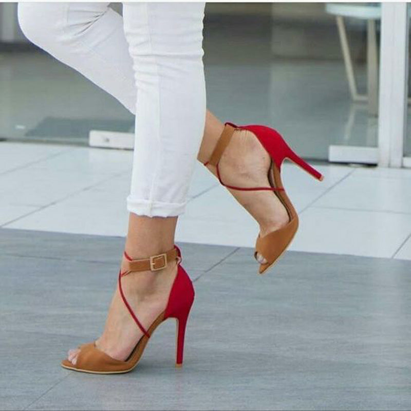 Colorblock Buckle Strap Suede High Heel Sandals