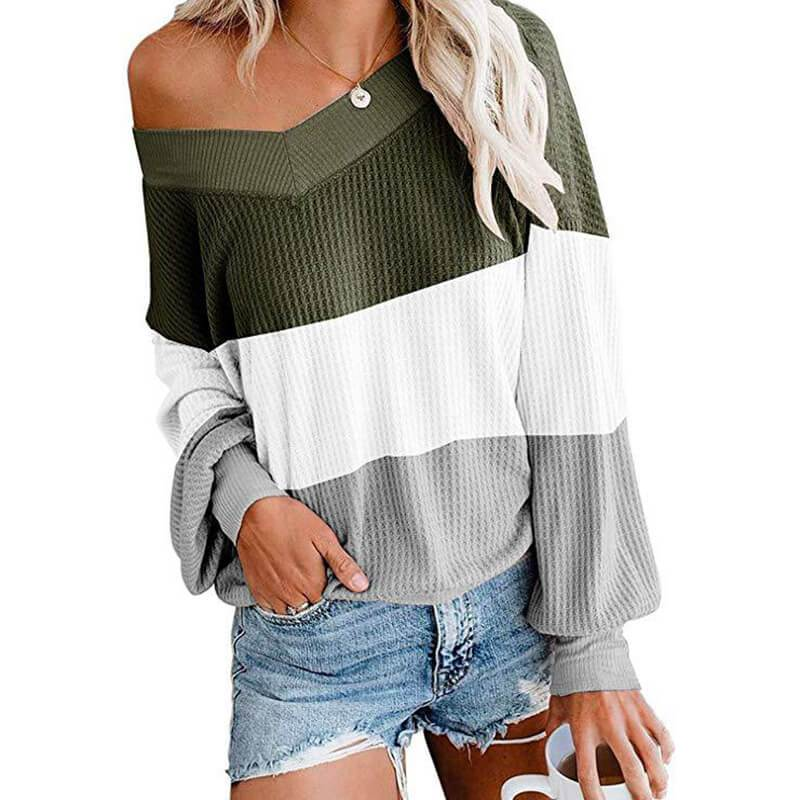 Patchwork Big V-neck Loose T-shirt