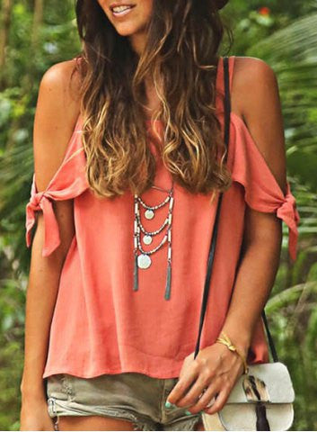 Off-shoulder Pure Color Casual Scoop Chiffon Blouse