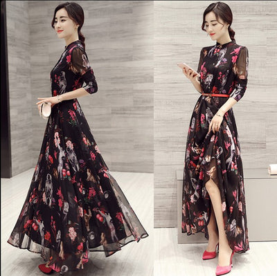 Long Sleeves High Neck Flower Print Loose Ankle Length Chiffon Dress - Meet Yours Fashion - 2