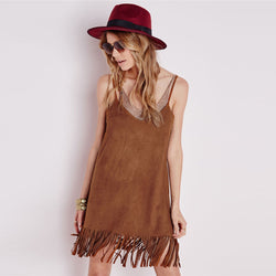 Spaghetti Strap Tassels V-neck Backless Short Dress - Meet Yours Fashion - 2