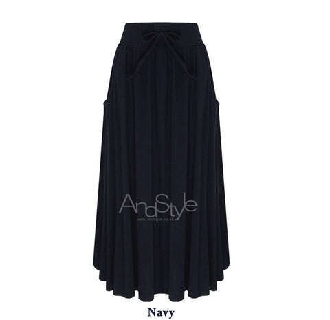 Bowknot Solid Side Pockets Pleated Long Skirt - Meet Yours Fashion - 3