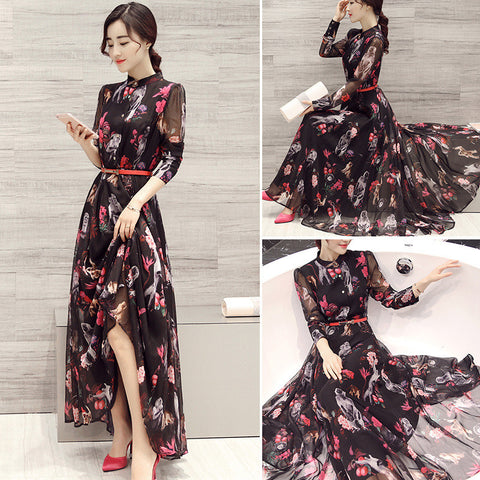 Long Sleeves High Neck Flower Print Loose Ankle Length Chiffon Dress - Meet Yours Fashion - 3
