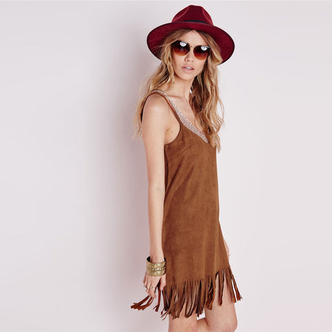 Spaghetti Strap Tassels V-neck Backless Short Dress - Meet Yours Fashion - 5