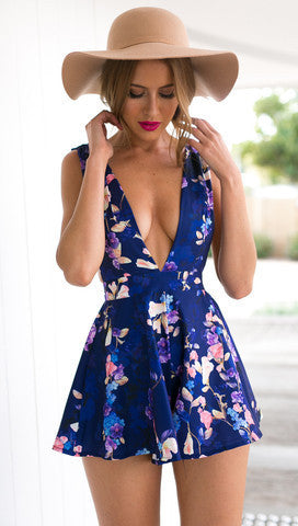 Sexy Deep V-Neck Printed Jumpsuits