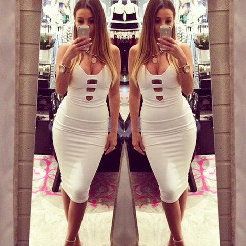 Sexy Spaghetti Strap Bodycon Short Dress - Meet Yours Fashion - 1