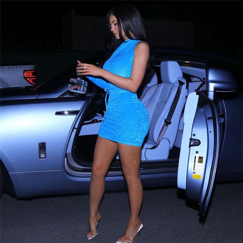 Blue Velvet One Shoulder Bandage Bodycon Dress