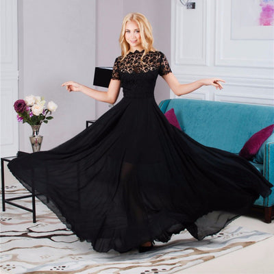 Hollow Out Lace Elegant Perspective Fashion Long Dress