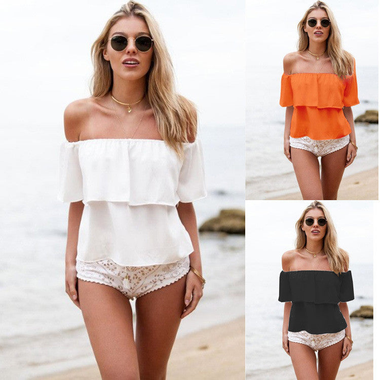 Strapless Pure Color Chiffon Falbala Sexy Beach Blouse - Meet Yours Fashion - 2