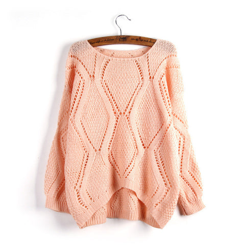 Asymmetric Pullover Crochet Loose Solid Short Sweater - Meet Yours Fashion - 2