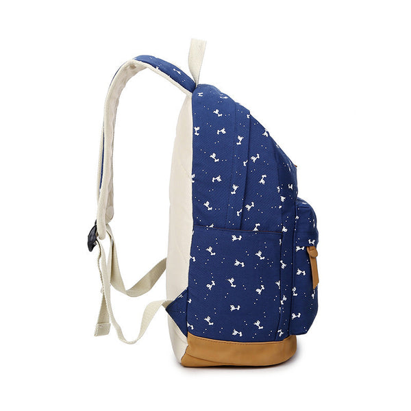 Giraffe Print Simple Fashion Canvas School Backpack - Meet Yours Fashion - 6