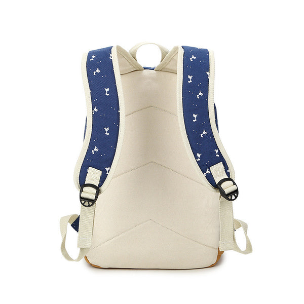 Giraffe Print Simple Fashion Canvas School Backpack - Meet Yours Fashion - 7