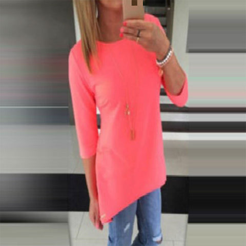 Candy Color 3/4 Sleeve Scoop Irregular T-shirt