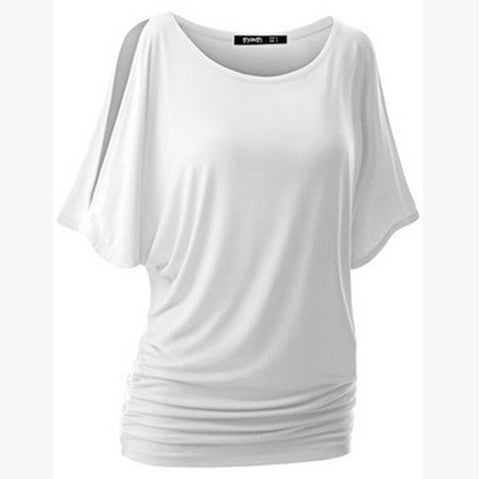 Pure Color Bat-wing Sleeves Scoop Bodycon Sexy T-shirt - Meet Yours Fashion - 4