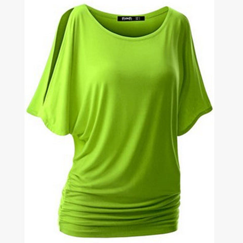 Pure Color Bat-wing Sleeves Scoop Bodycon Sexy T-shirt - Meet Yours Fashion - 1