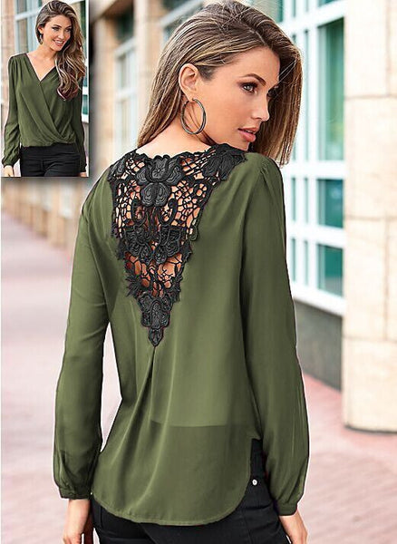 Backless Lace Patchwork V-neck Long Sleeves Chiffon Blouse - Meet Yours Fashion - 8