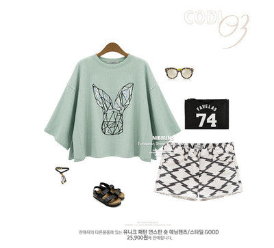Scoop 1/2 Sleeves Flower Print Casual Short Blouse