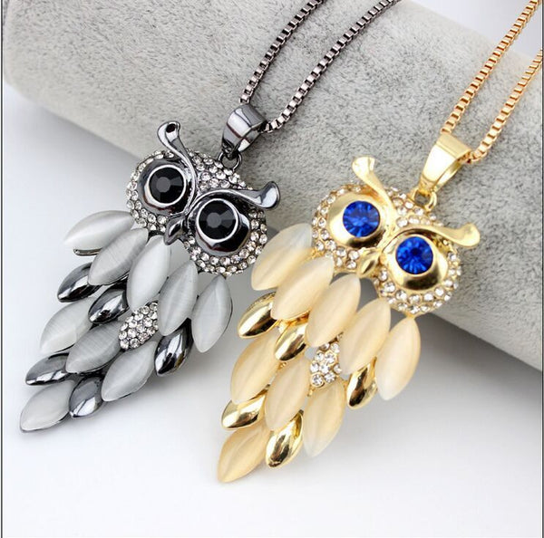 Upscale Owl Sweater Chain Europe Fashion Pendant Necklace