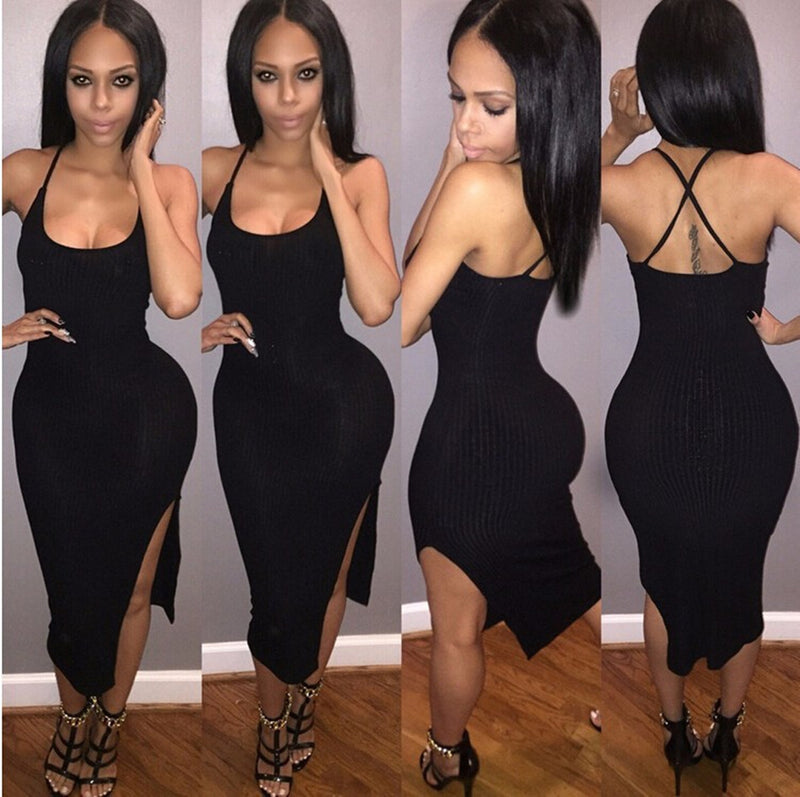 Sexy Spaghetti Strap Backless Side Slit Irregular Bodycon Dress