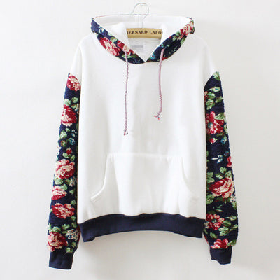 Print Retro Pullover Long Sleeve Loose Hoodie - Meet Yours Fashion - 1
