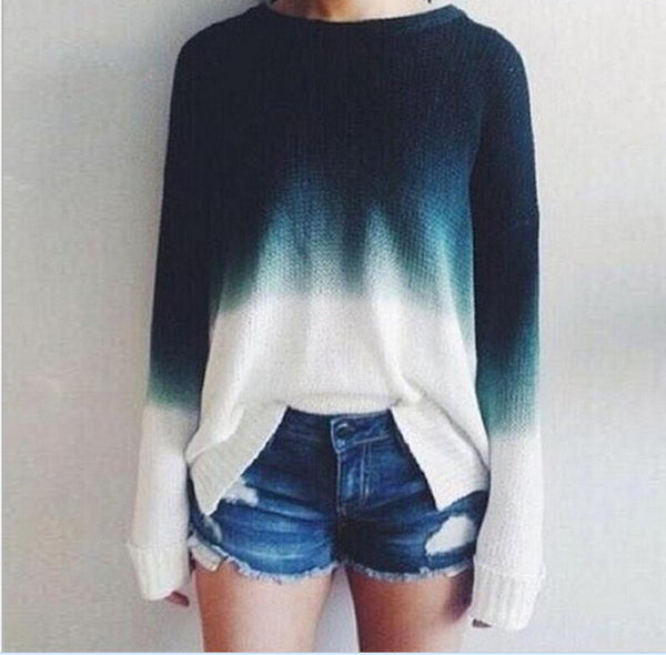 Gradient Color Pullover Retro Casual Sweater - Meet Yours Fashion - 1