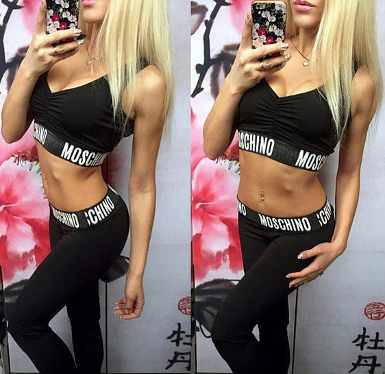 Letter Print Crop Top with Skinny Pants Chic Sports Set - Meet Yours Fashion - 2